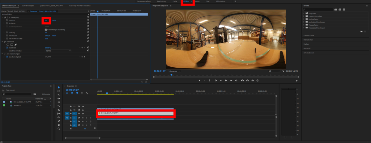 360° Video – Changing Facing Position (Adobe Premiere Pro)